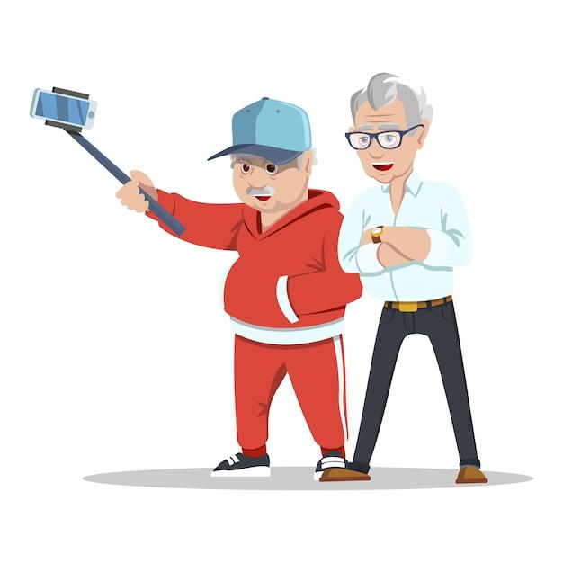 Oude vrienden ontmoeten. groep vrolijke senior mensen hipsters verzamelen en plezier maken. Premium Vector