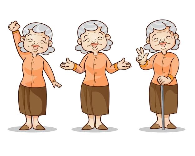 Oude vrouw cartoon tekenset Premium Vector
