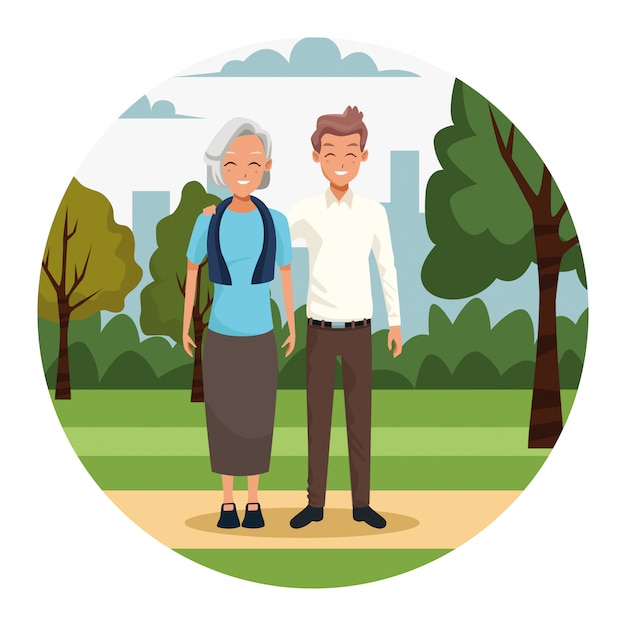 Oude vrouw en man in het park Premium Vector