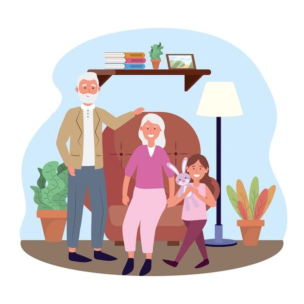 Oude vrouw en man met meisje en planten Gratis Vector