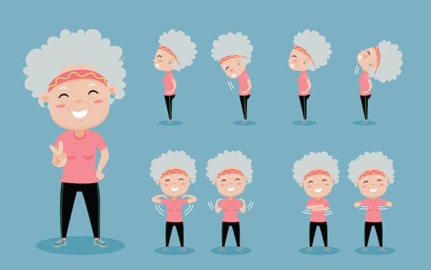 Oude vrouw gelukkig om uit te oefenen Premium Vector