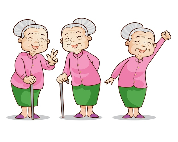 Oude vrouw goedaardig Premium Vector