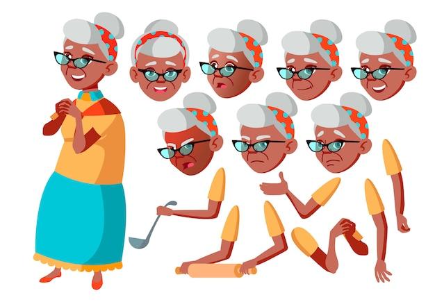 Oude vrouw karakter. afrikaanse. creatie constructor voor animatie. gezichtsemoties, handen. Premium Vector