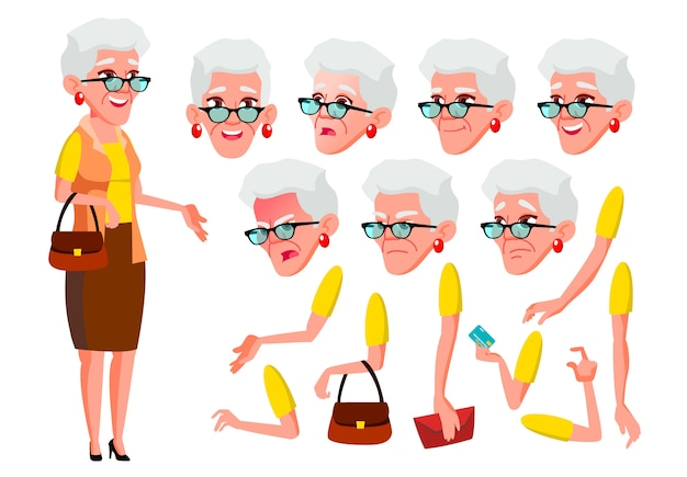 Oude vrouw karakter. europese. creatie constructor voor animatie. gezichtsemoties, handen. Premium Vector