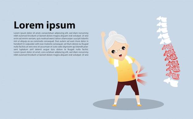Oude vrouw met osteoporose sjabloon Premium Vector