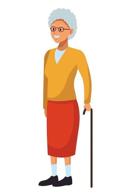 Oude vrouw met stok Premium Vector