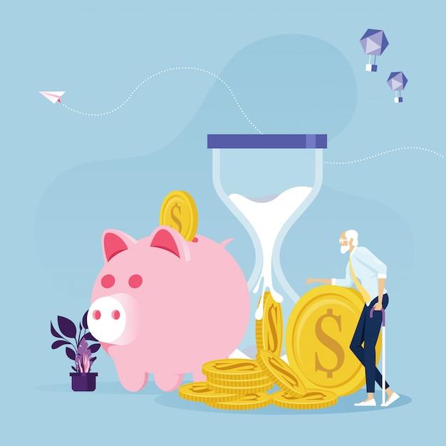 Oude zakenman met pensioen geld financieel plan Premium Vector