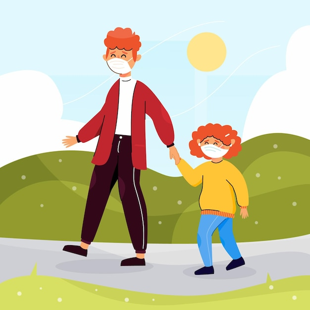 Ouder en kind dragen maskers bij daglicht Gratis Vector