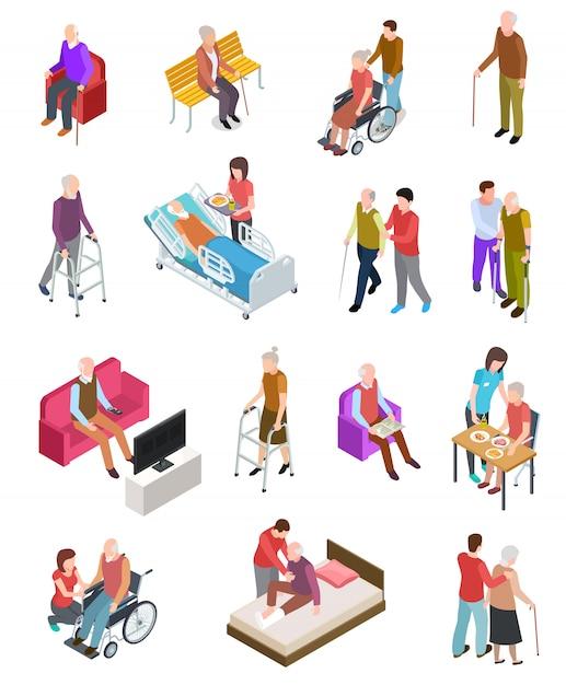 Oudere mensen . senioren, hulpverpleegster. senioren medische thuistherapie. mensen in een rolstoel. gerontologie set Premium Vector