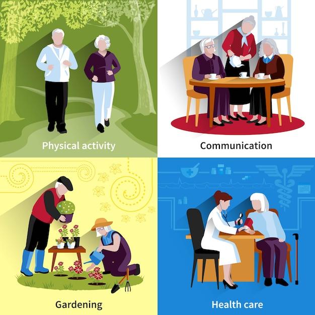 Oudere mensen tekenset. oudere mensen vectorillustratie. ouderen concept. oudere mensen platte set. oudere mensen decoratieve illustratie Gratis Vector