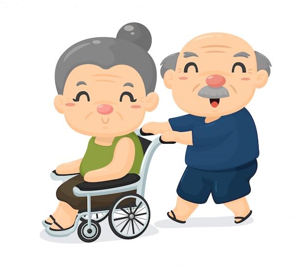 Oudere samenleving cartoon, ouderen van ouderdom zorgen voor elkaar als ze ziek zijn. Premium Vector