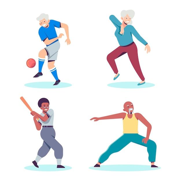 Ouderen die verschillende sporten beoefenen Gratis Vector