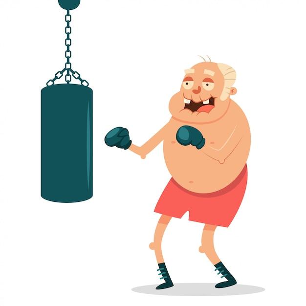 Ouderen kunnen fitnessoefeningen doen met bokszakken. grappig grootvader stripfiguur vector geïsoleerd Premium Vector