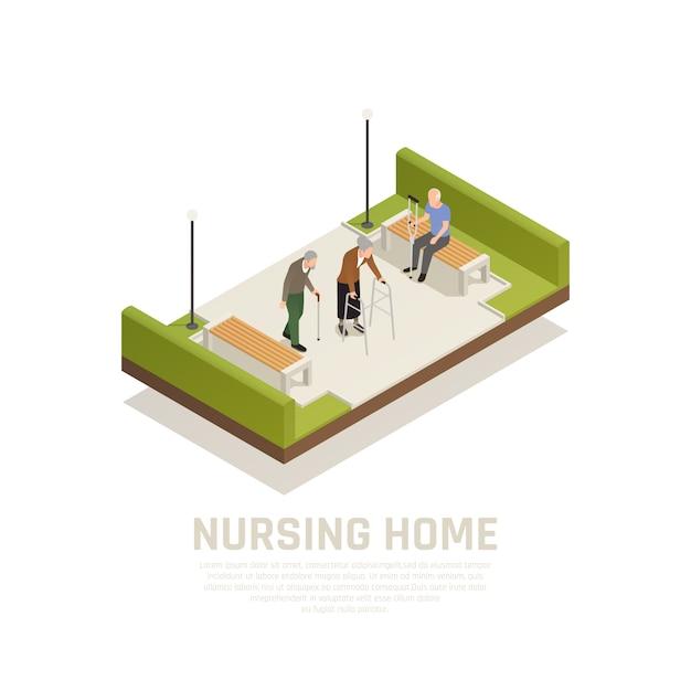 Ouderen met een handicap verpleeghuis buitenactiviteiten isometrische samenstelling met behulp van wandelstok krukken wandelaar mensen Gratis Vector