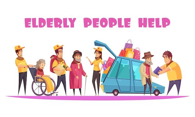 Ouderen sociale ondersteuning helpen met socialiseren wandelen winkelen organiseren van activiteiten in rolstoel cartoon Gratis Vector