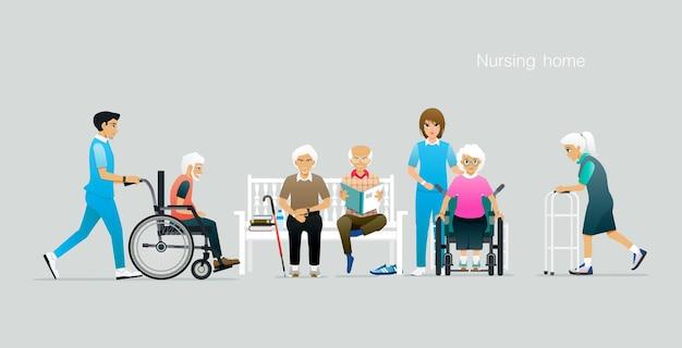 Ouderen worden verzorgd door een verpleeghuis. Premium Vector