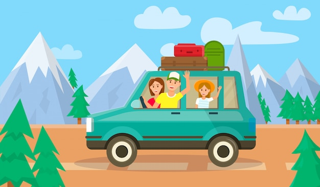 Ouders en dochter reizen met de auto samen Premium Vector