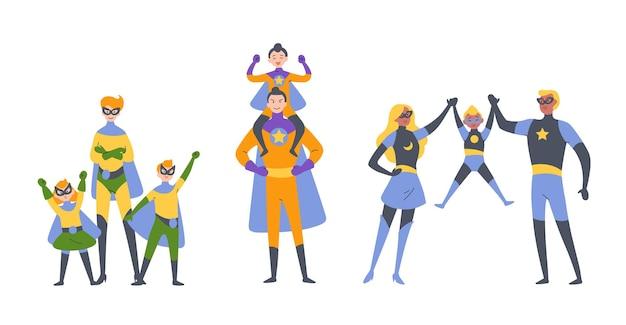 Ouders en kinderen, jongen en meisje die superhelden spelen, gekleed in superheldenkostuums. Premium Vector