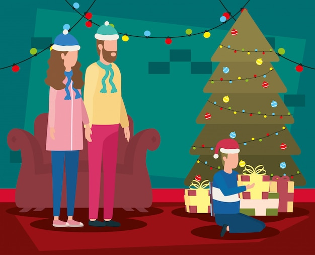 Ouders en zoon vieren kerstmis in woonkamer met boom Premium Vector