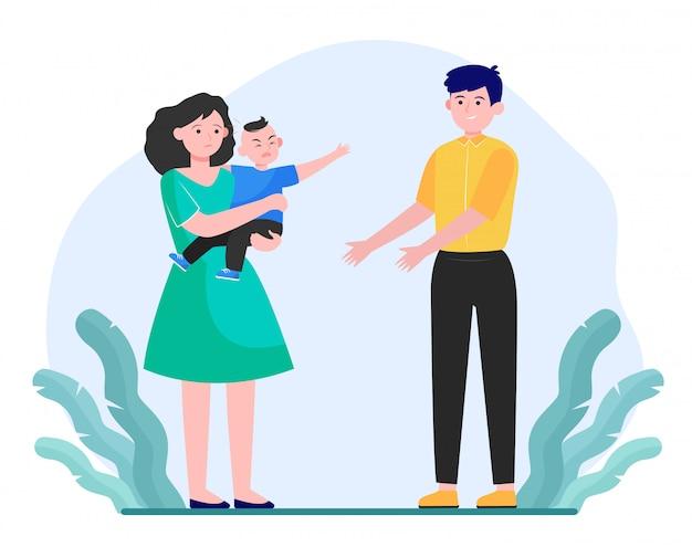 Ouders kalmeren klein kind Gratis Vector