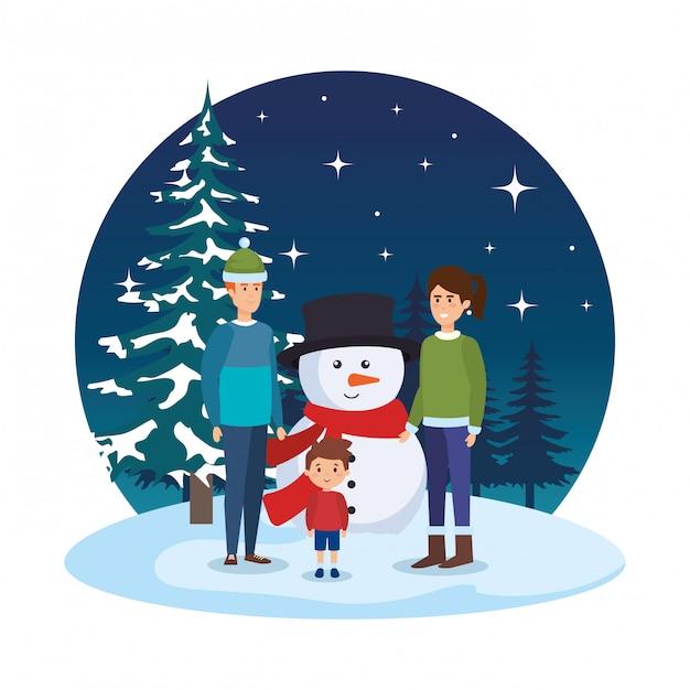 Ouders koppelen met kinderen en sneeuwpop in snowscape Premium Vector