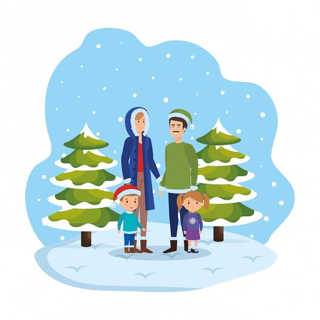 Ouders koppelen met kinderen en winterkleren in snowscape Premium Vector