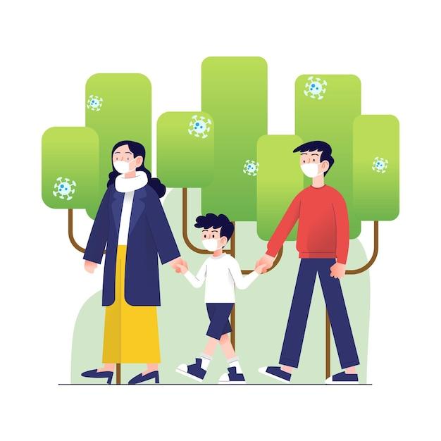 Ouders lopen met hun kind in het park Gratis Vector