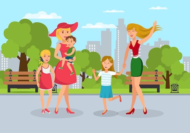 Ouders met kinderen ontmoeten op walk flat illustratie Premium Vector