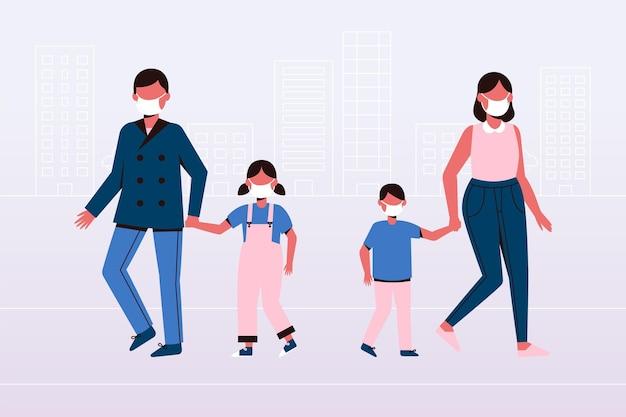 Ouders met kinderen Gratis Vector