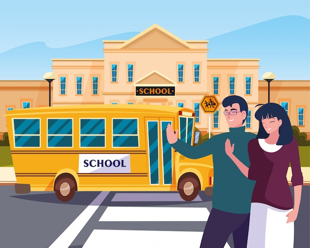 Ouders vaarwel van busschool in weg Premium Vector
