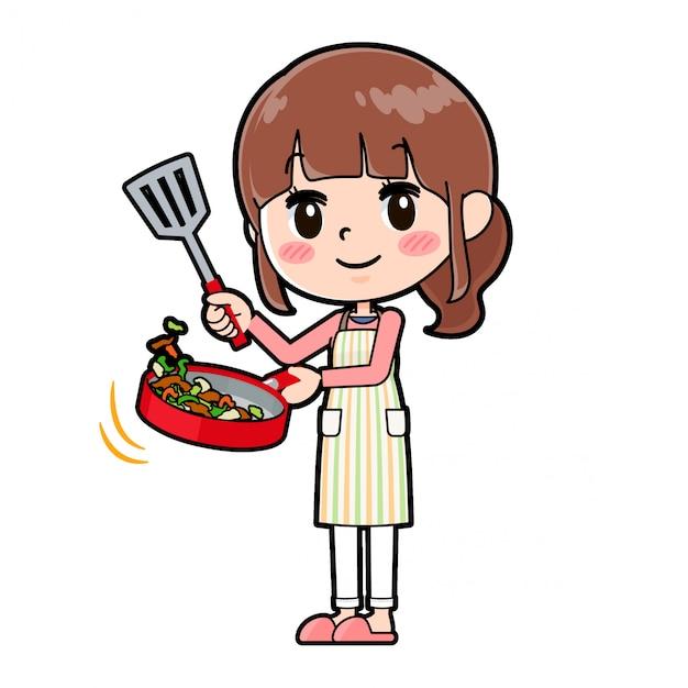 Out line schort mama kook roer gebakken Premium Vector