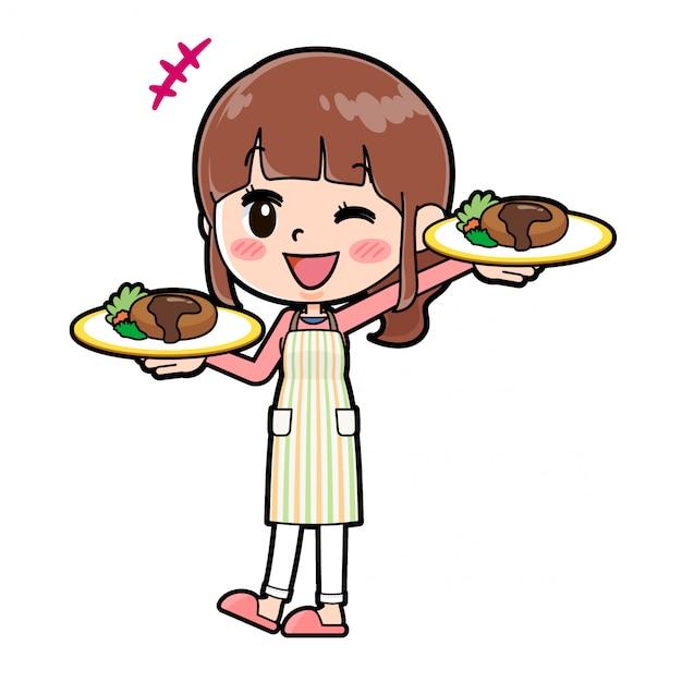 Out line schort mama kookt serveerster Premium Vector