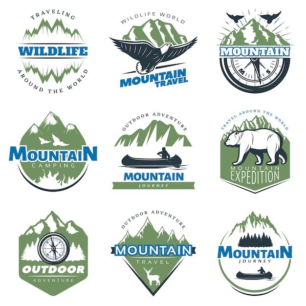 Outdoor avonturen en toerisme kleurrijke badges Gratis Vector