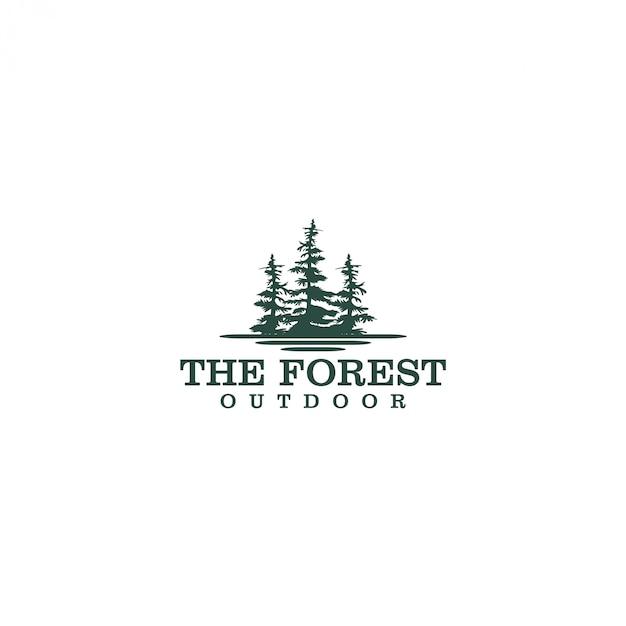 Outdoor berg natuur logo - avontuur wildlife dennenbos bosontwerp Premium Vector