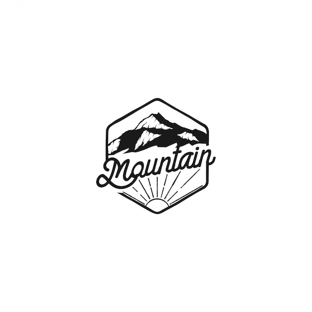 Outdoor berg natuur logo, avontuur wildlife dennenbos Premium Vector