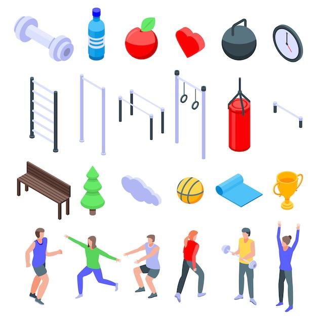 Outdoor fitness iconen set, isometrische stijl Premium Vector
