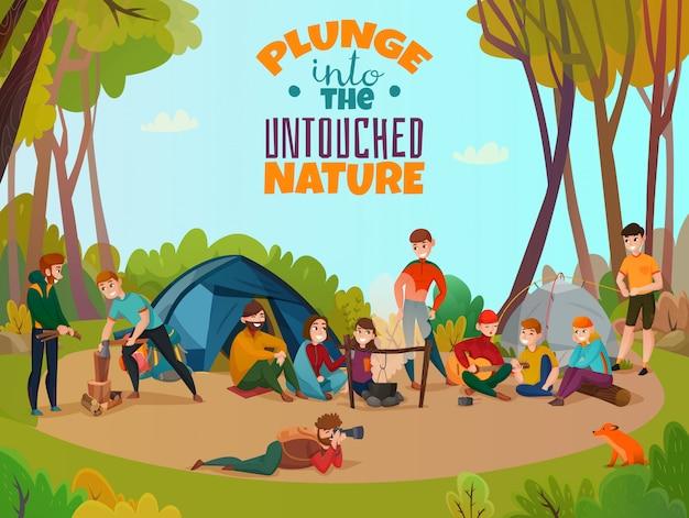 Outdoor kampement doodle samenstelling Gratis Vector