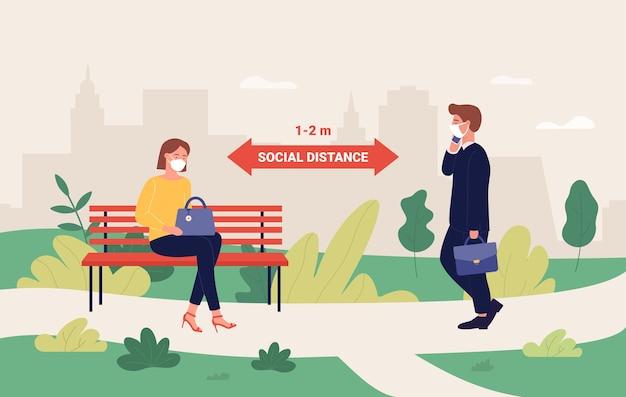 Outdoor sociale afstand concept Premium Vector