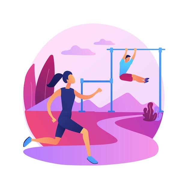 Outdoor trainingstraining. gezonde levensstijl, joggen in de open lucht, fitnessactiviteit. mannelijke atleet die in park loopt. gespierde sportman buitenshuis trainen. Gratis Vector