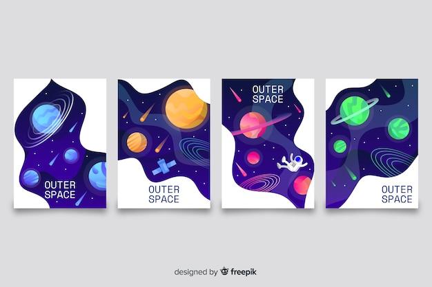 Outer space cover-collectie Gratis Vector