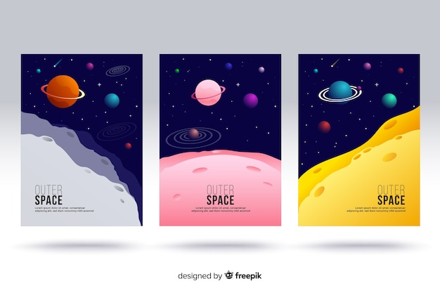 Outer space covers Gratis Vector