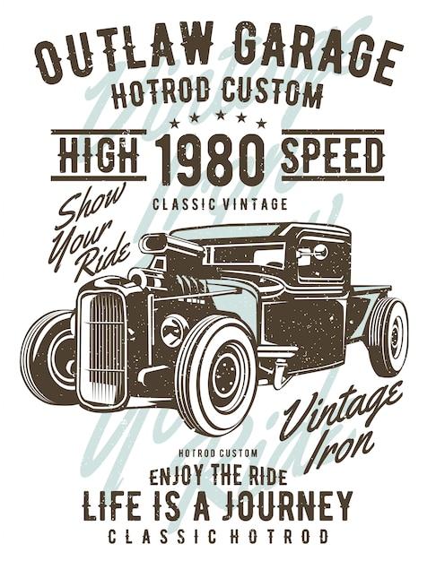 Outlaw garage illustratie ontwerp Premium Vector