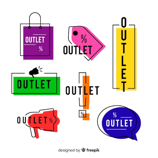Outlet-labelverzameling Gratis Vector