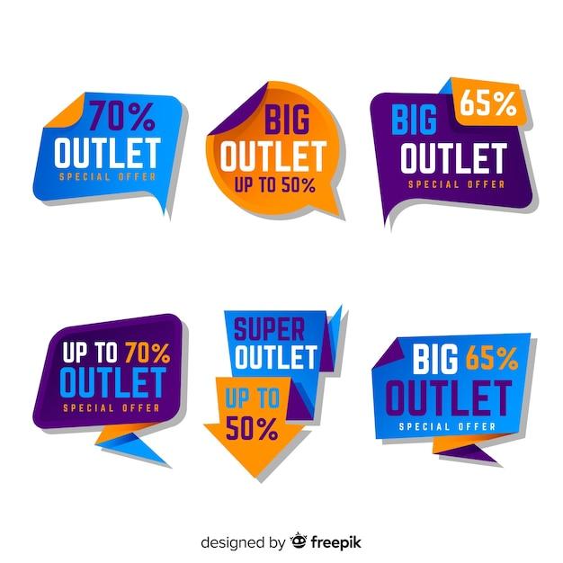 Outlet-labelverzameling Gratis Vector