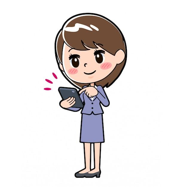 Outline zakelijke vrouw smartphone aanraking Premium Vector