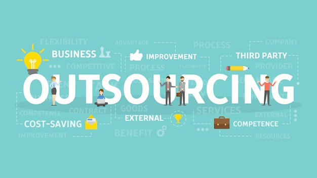 Outsourcing concept illustratie. Premium Vector
