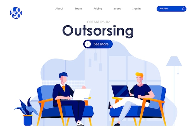 Outsourcing service platte bestemmingspagina ontwerp websjabloon Premium Vector