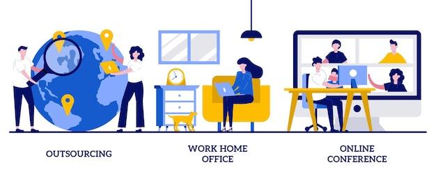 Outsourcing, werk aan huis, online conferentieconcept met kleine mensen. afstand werken abstracte illustratie set. freelance baan, digitale teamvergadering, it-business, internetplatform. Premium Vector