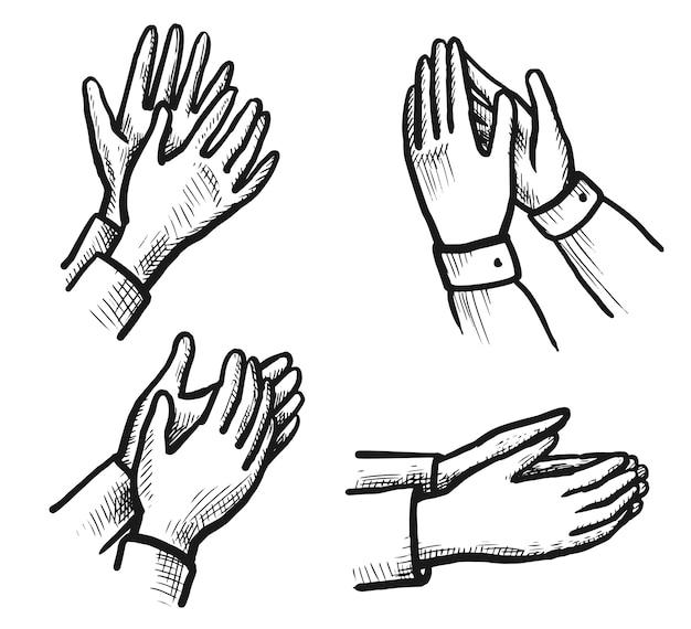Ovation schets. hand getekend applaudisseren klappen Premium Vector
