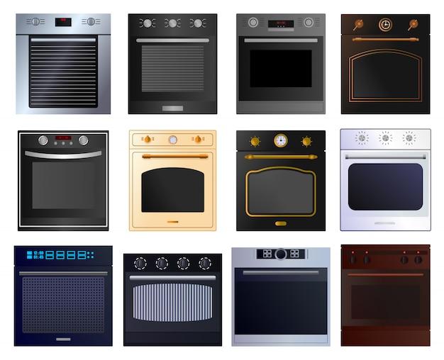 Oven cartoon ingesteld pictogram. illustratie illustratie elektrisch fornuis op witte achtergrond .cartoon instellen pictogram oven. Premium Vector